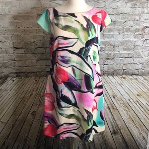 Vince Camuto Short Sleeve Dress 12 Multicolor